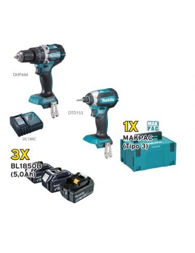 MAKITA KIT DLX2180TJ1 Avvitatore DHP484 + Avvitatore massa